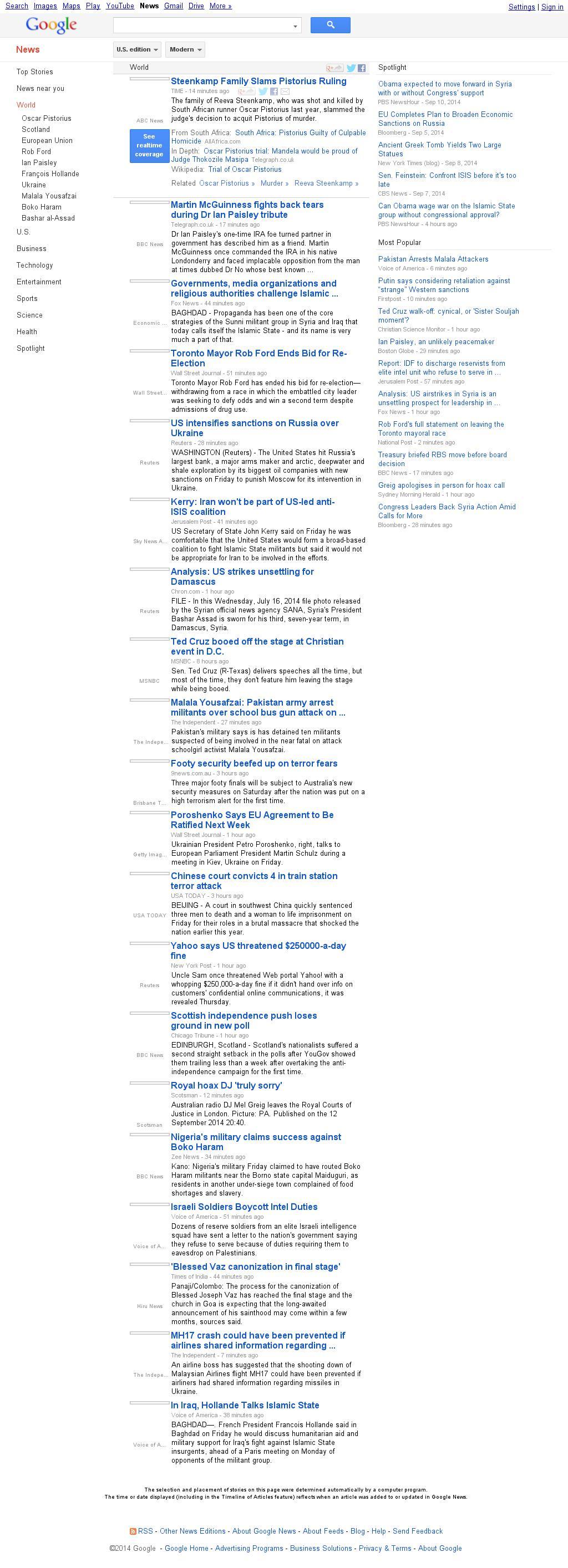 Google News: World at Friday Sept. 12, 2014, 8:08 p.m. UTC