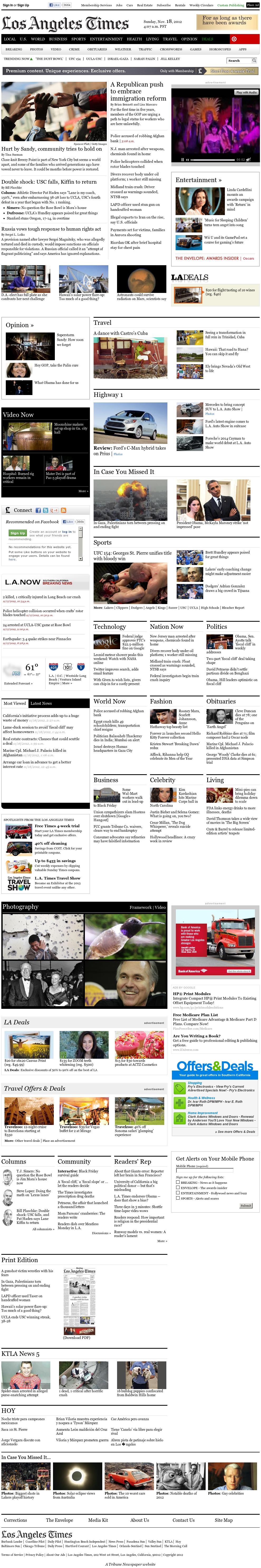 Los Angeles Times at Sunday Nov. 18, 2012, 12:14 p.m. UTC