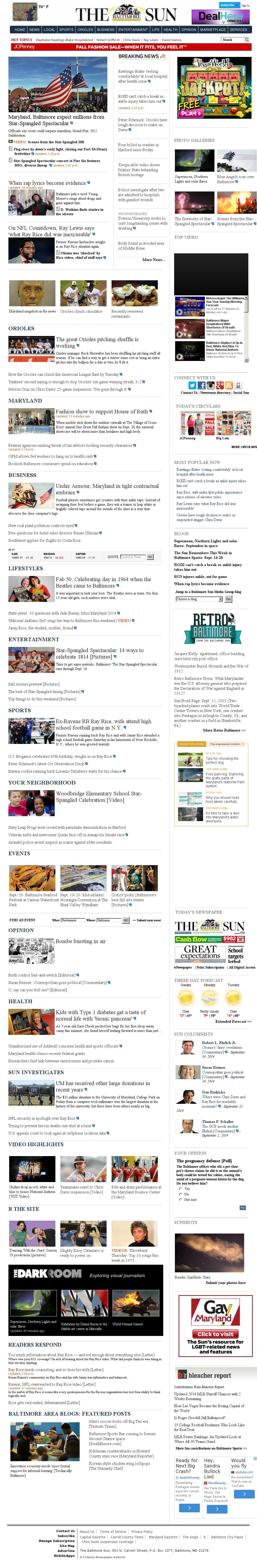 The Baltimore Sun at Sunday Sept. 14, 2014, 8 p.m. UTC