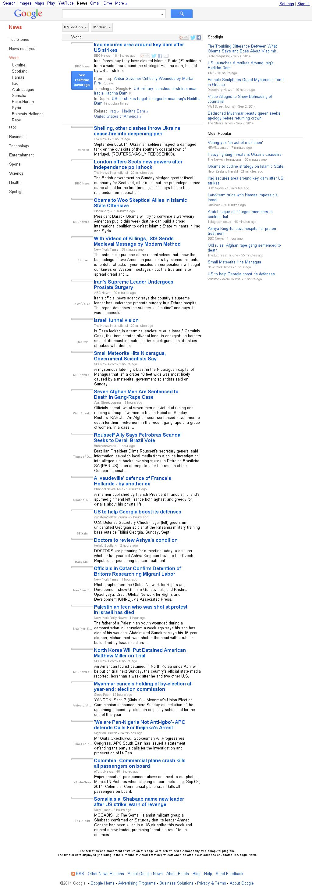 Google News: World at Monday Sept. 8, 2014, 5:07 a.m. UTC