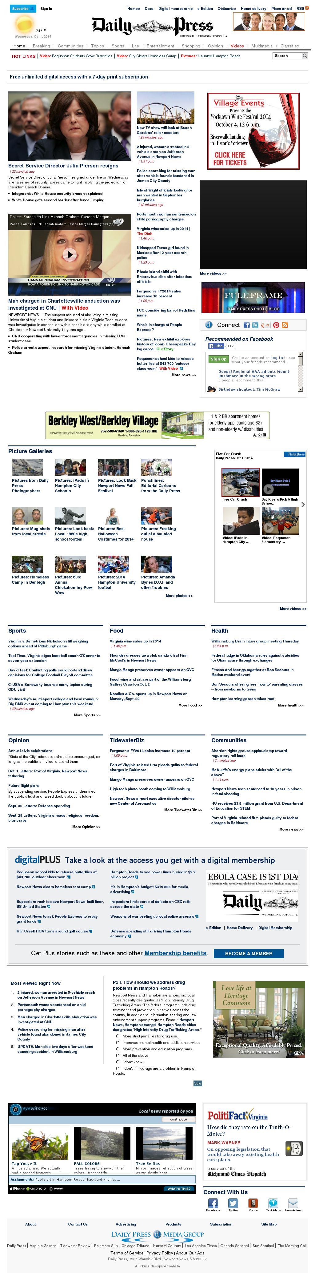 (Hampton Roads) Daily Press at Wednesday Oct. 1, 2014, 8:02 p.m. UTC