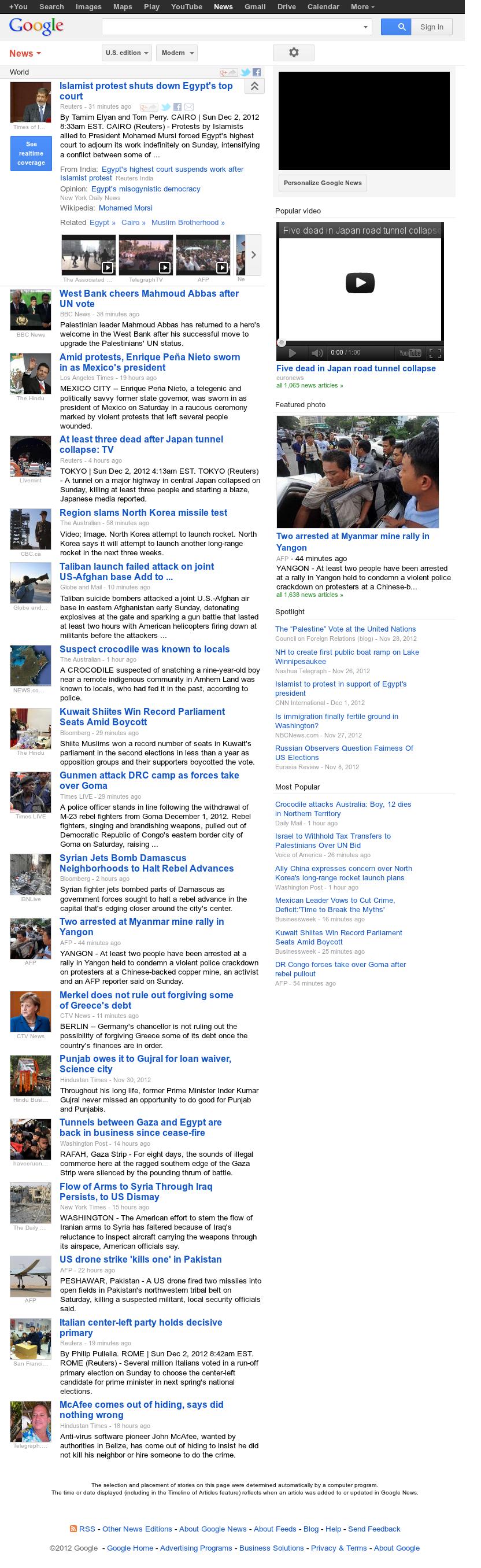 Google News: World at Sunday Dec. 2, 2012, 2:11 p.m. UTC
