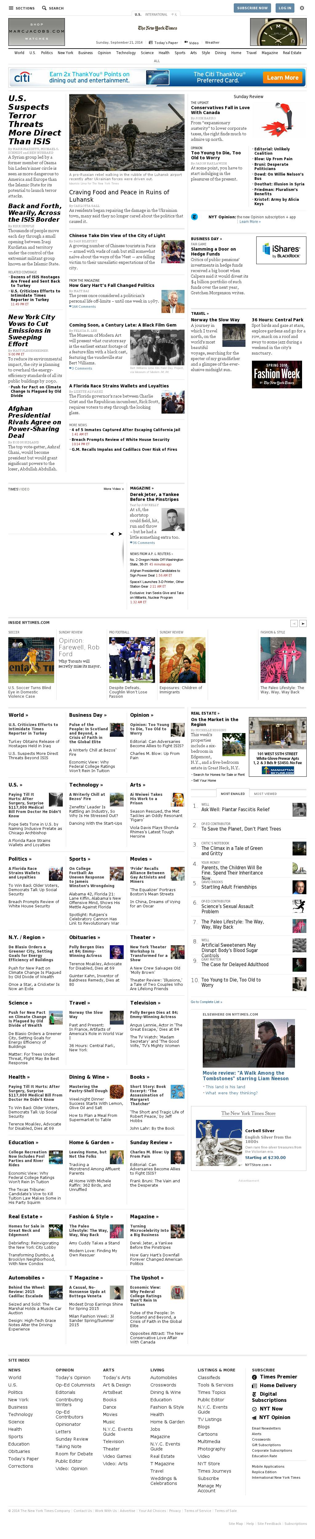 The New York Times at Sunday Sept. 21, 2014, 7:11 a.m. UTC