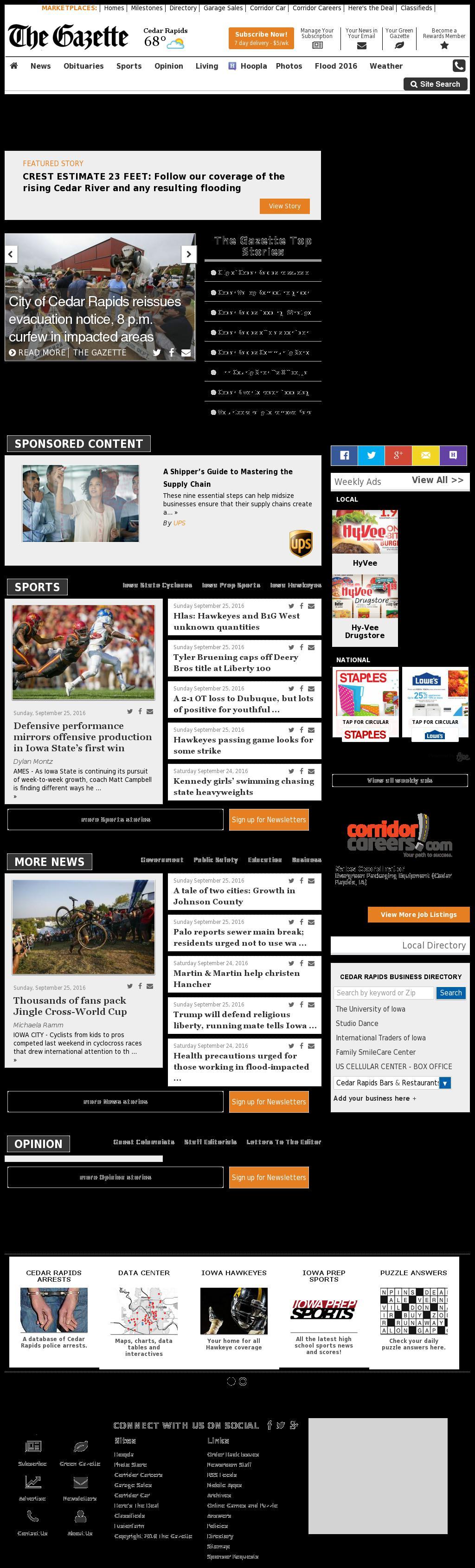 The (Cedar Rapids) Gazette at Sunday Sept. 25, 2016, 11:06 p.m. UTC