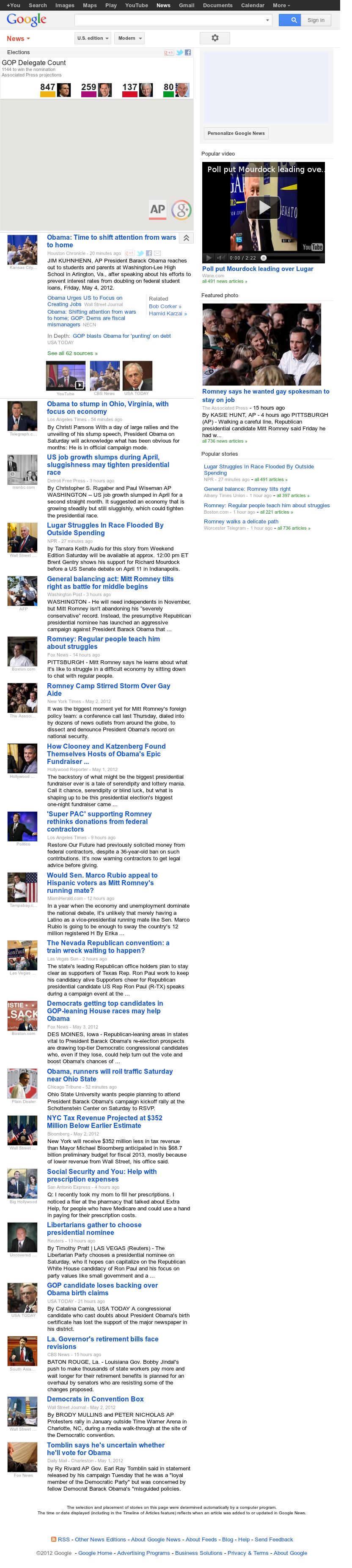 Google News: Elections at Saturday May 5, 2012, 11:05 a.m. UTC