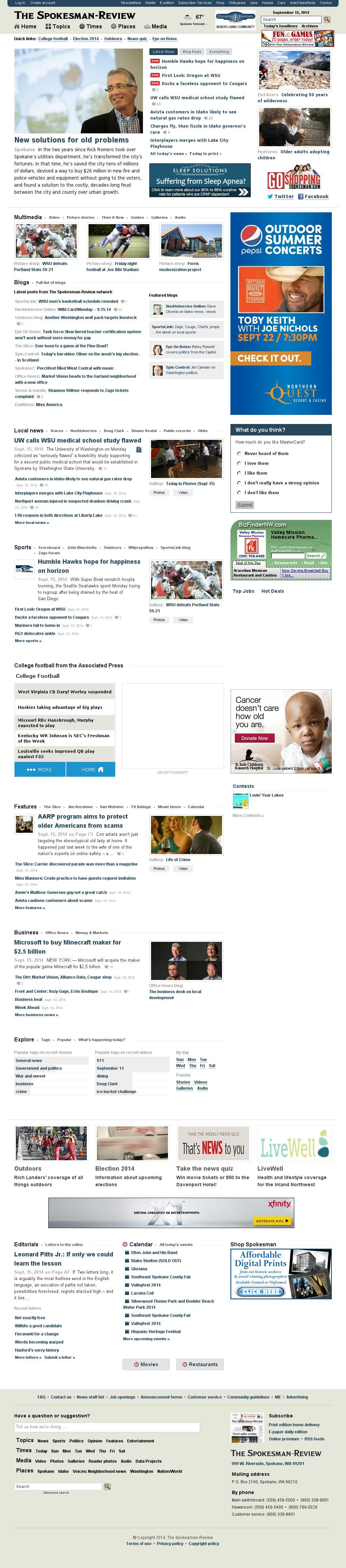 The (Spokane) Spokesman-Review at Tuesday Sept. 16, 2014, 5:17 a.m. UTC