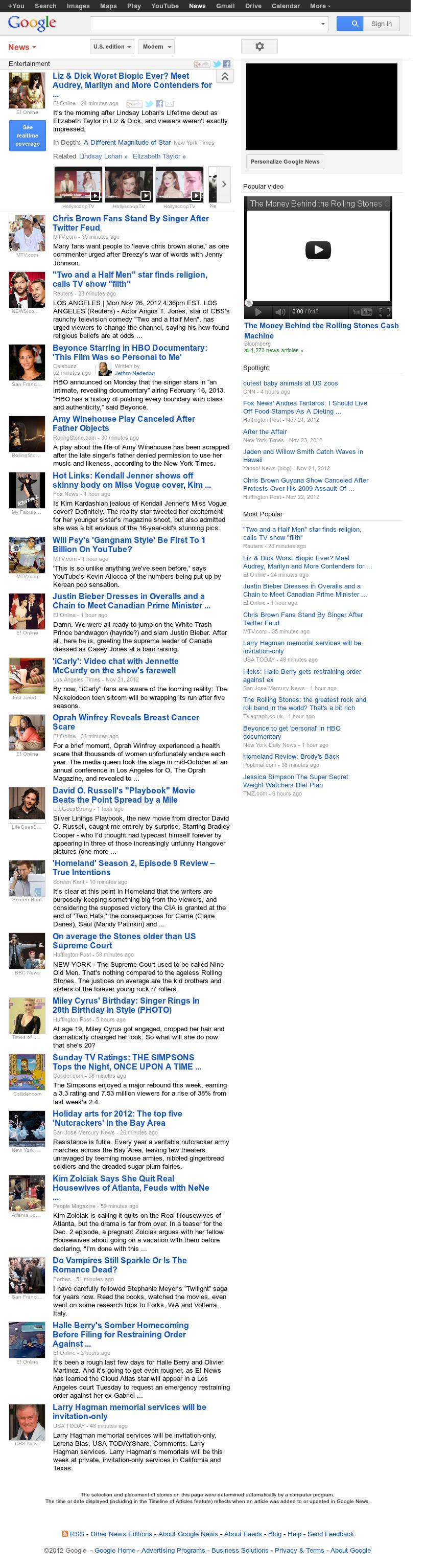 Google News: Entertainment at Monday Nov. 26, 2012, 10:11 p.m. UTC
