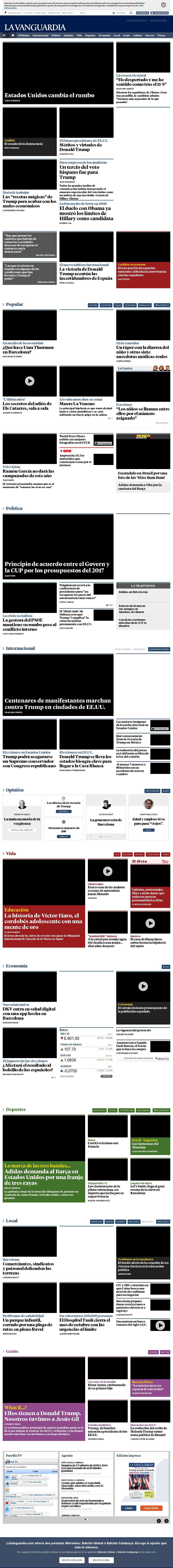 La Vanguardia at Thursday Nov. 10, 2016, 3:22 a.m. UTC