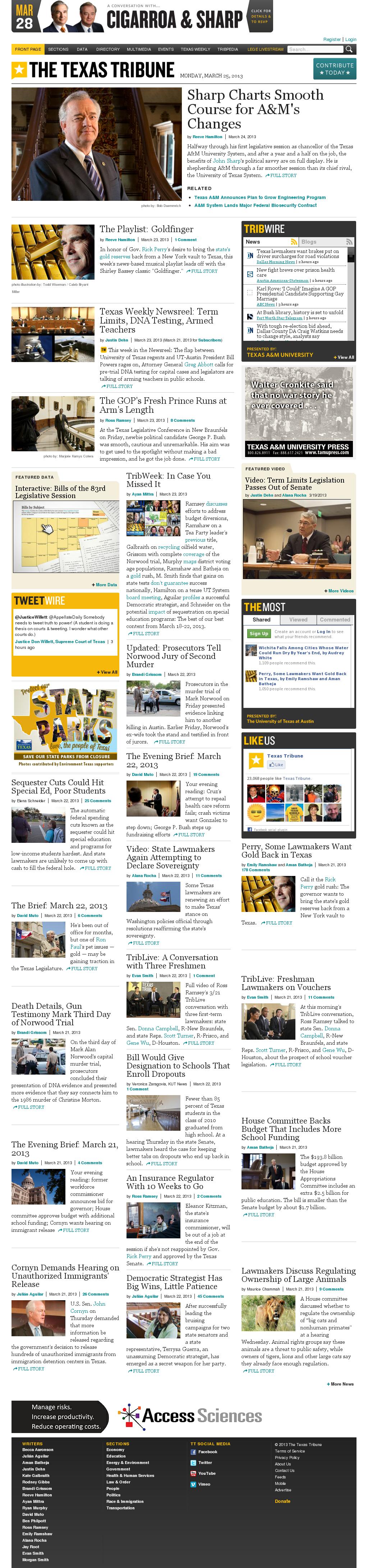 The Texas Tribune at Monday March 25, 2013, 7:44 a.m. UTC