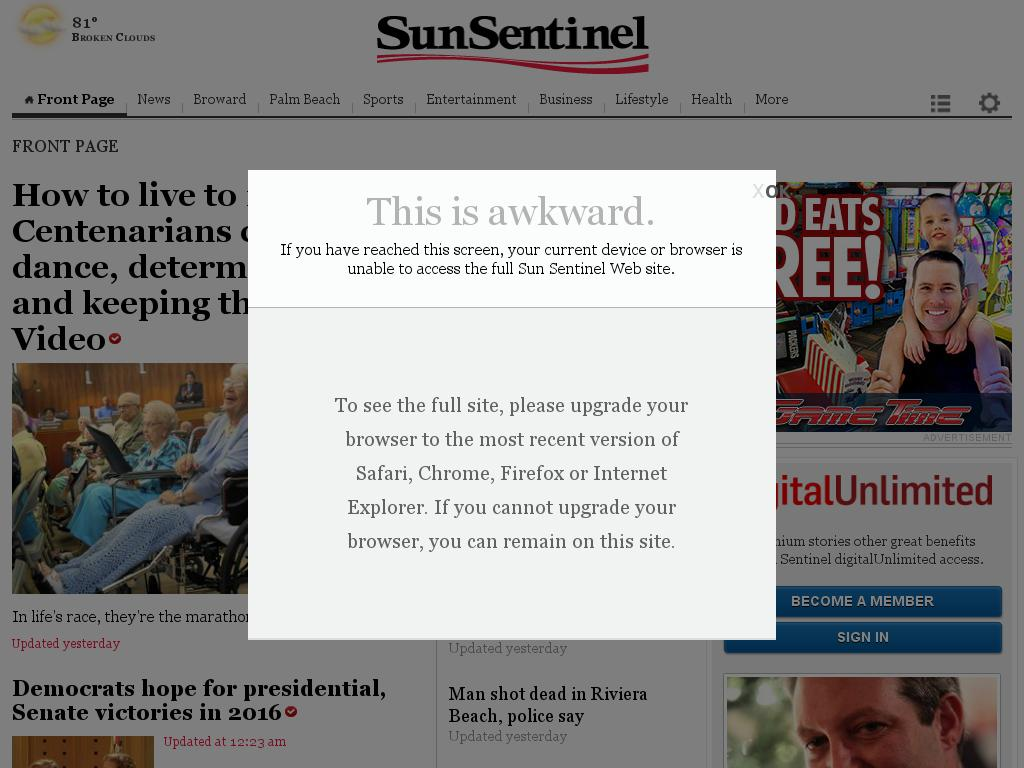 (Florida) Sun Sentinel at Sunday June 14, 2015, 11:27 a.m. UTC