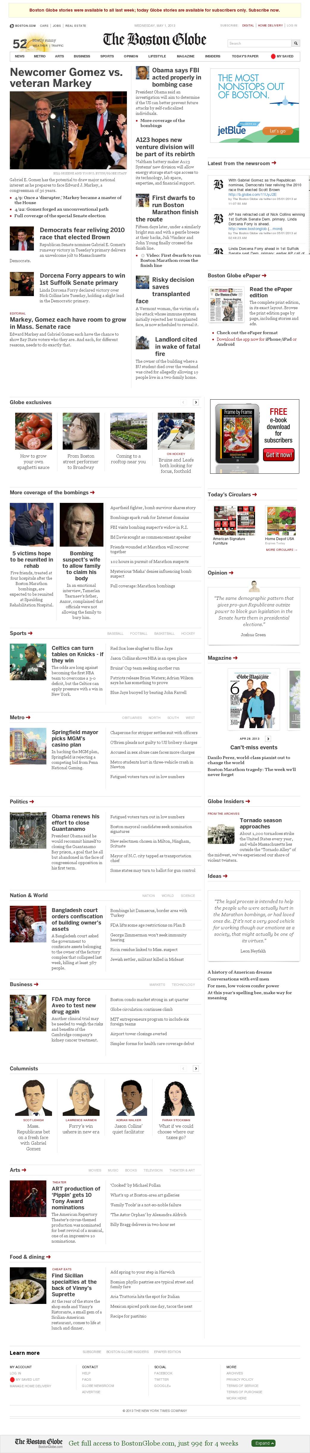 The Boston Globe at Wednesday May 1, 2013, 12:02 p.m. UTC