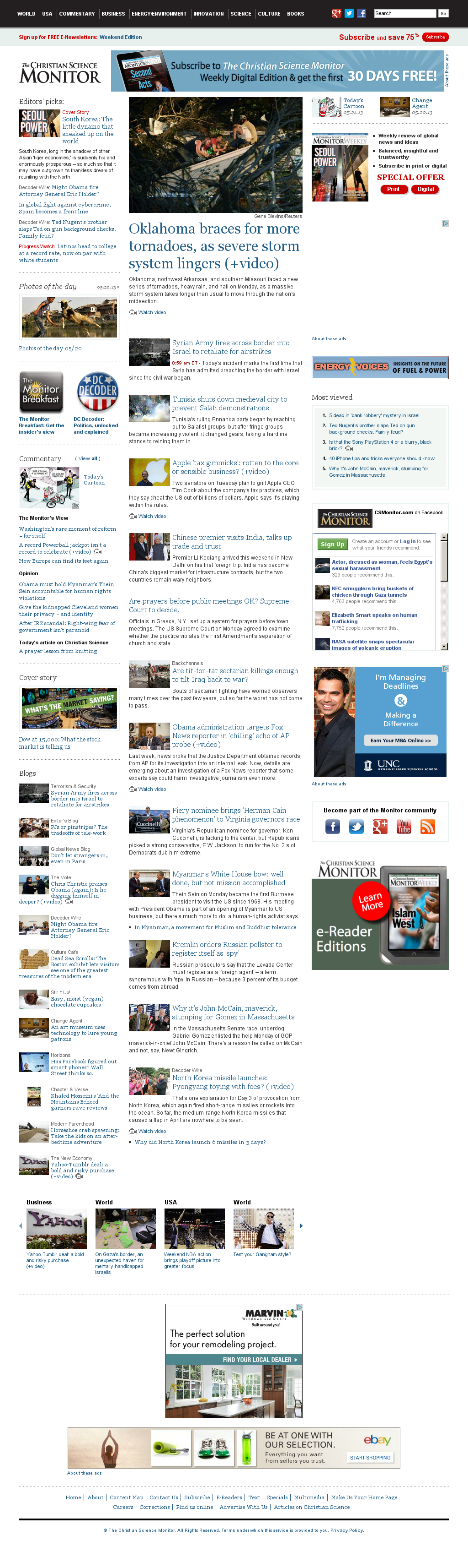 The Christian Science Monitor at Tuesday May 21, 2013, 1:03 p.m. UTC