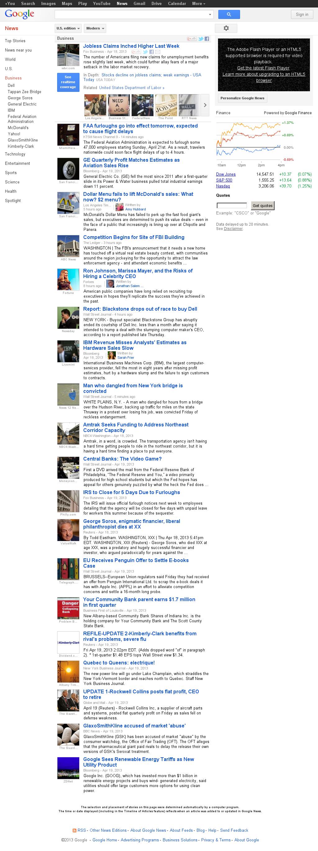 Google News: Business at Sunday April 21, 2013, 5:07 a.m. UTC