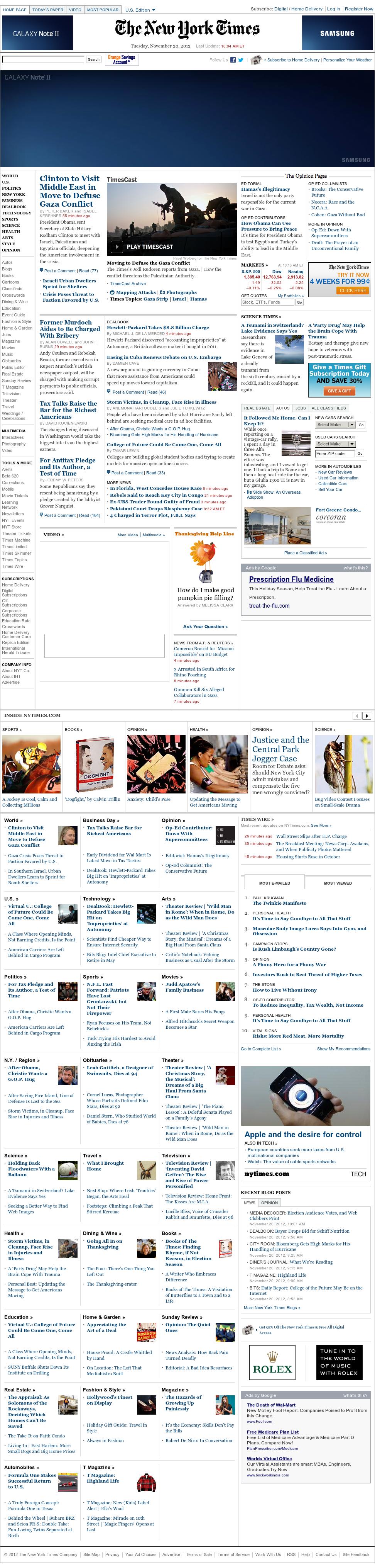 The New York Times at Tuesday Nov. 20, 2012, 3:20 p.m. UTC