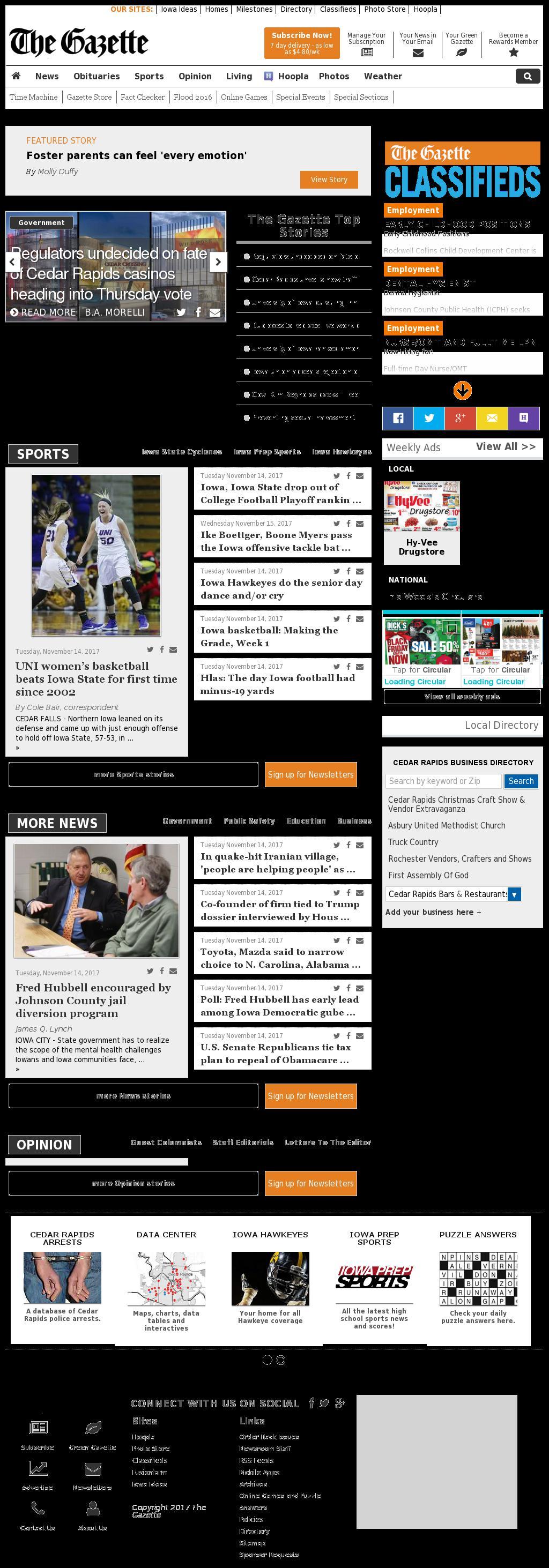 The (Cedar Rapids) Gazette at Wednesday Nov. 15, 2017, 8:04 a.m. UTC