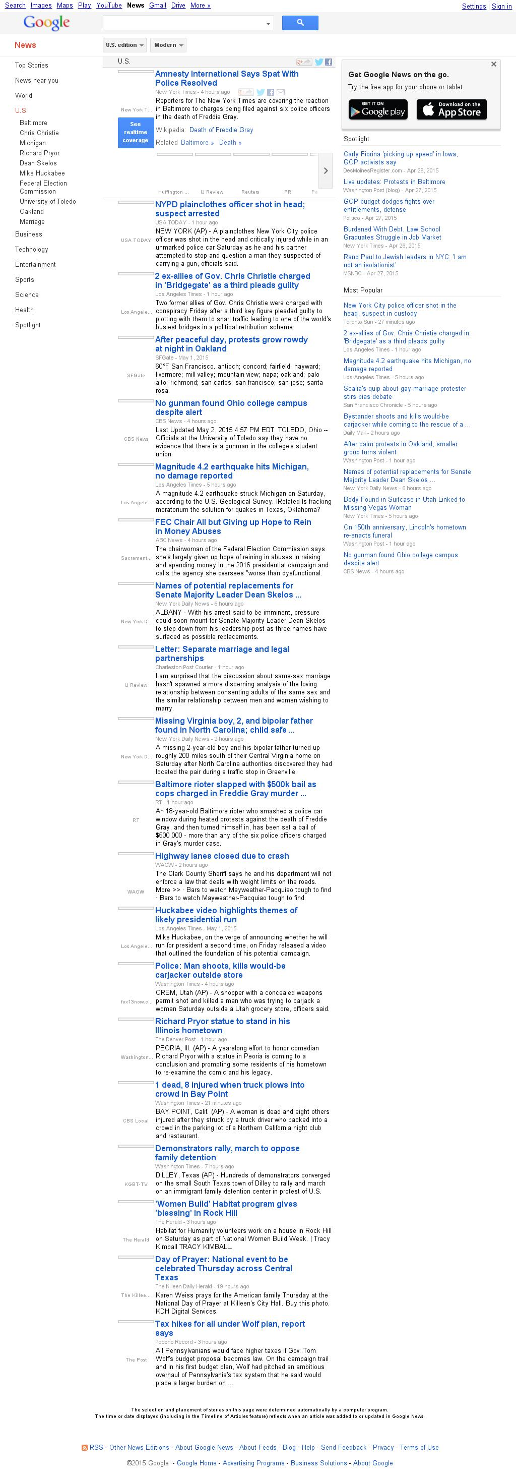 Google News: U.S. at Sunday May 3, 2015, 5:07 a.m. UTC
